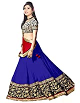 Clickedia Women Georgette Blue & Red embroidered Lehenga With Dupatta and Blouse piece
