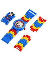 LEGO Kids' 8020257 DC Universe Super Heroes Superman Plastic Watch with Link Bracelet and Character Figurine
