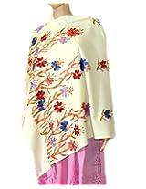 Indian Fashion Guru  White  gift  woolen stole  Flower design  Embroidery stole  shawl