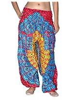 Famacart Women Pocket Printed Harem Pant Free Size Red blue