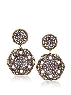 Joanna Laura Constantine Purple Double Embellished Disc Earrings