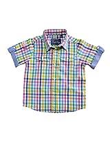 Peach Boys Shorts Sleeve Shirt With Checks