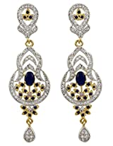 Exxotic Produced Fashion Designer American Diamond Earring For Girls & Women (Blue)