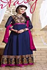 Blue and Pink Embroidary Anarkali Suit