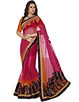 Sapphire Fashions Women's Pink Net and Satin Saree