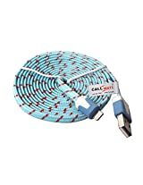 """"""" Callmate High Speed Cable Flat Fabric Braided For iPhone 5 5S 5C 6 6 Plus-Light Blue """""""
