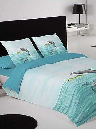 Euromoda Lencería Juego de Fundas Nórdicas Delfines (Azul)