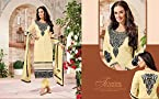 Georgette Embroidered Beige Unstitched Straight Suit - 24897