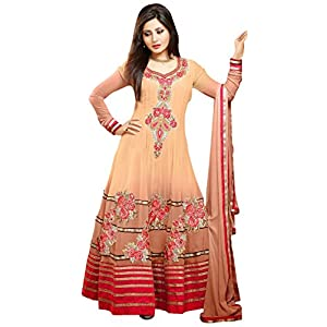 Bollywood Replica Designer Wear Georgette Material Beige Semi Stitched Anarkali Suit Worn by Rimi Sen