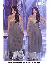 1008-Sonakshi Sinha Gray Anarkali In IIBS Fashion Show