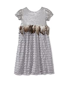 C'est Chouette Couture Girl's Jackie-O Ruffle Dress (Gray)