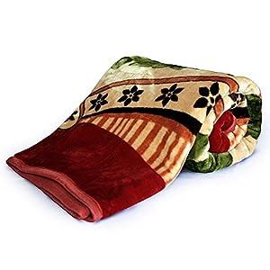 Little India Floral Super Soft Mink Double Blanket - Red (DLI4SBK224)