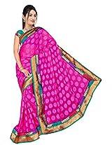 Chinco Banarasi Saree With Blouse Piece (1205-A_Pink)