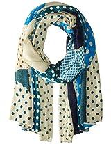 La Fiorentina Women's Cashmere Polka Dot Scarf, Blue Combo, One Size