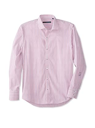 Zachary Prell Men's Terry Striped Long Sleeve Shirt (Pink)
