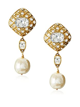 CHANEL Rhinestone Faux Pearl Dangle Earrings