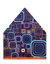 Tiekart Self Design Polyester Pocket Square (Ps514_Blue)