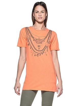 Crema Camiseta Print Collares (Naranja)