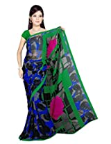 Sonal Trendz Blue & Green Color Printed Georgette Saree with Blouse