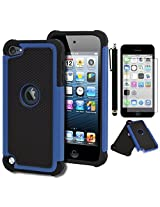 iPod Touch 5 Case, Bastex Heavy Duty Hybrid Protective Case - Soft Black Silicone Cover with Black and Blue [Shock] Design Case for Apple iPod Touch 5