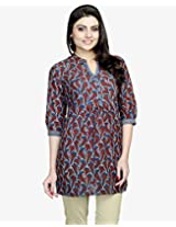 Cotton Ajrak Gathered Yoke Tunic-