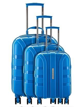 Platinium 3er Set Trolley 4 Rollen Porto (Blau)