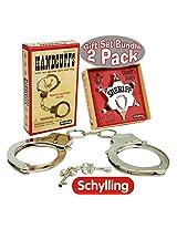 Schylling Classic Metal Handcuffs & Law Man Sheriffs Badge Gift Set Bundle 2 Pack
