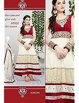 Fashionable Cream Color Party Wear Designer Long Length Anarkali Suit