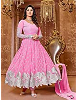 1018016_Pink color velvet designer Anarkali suit