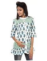 Rajrang Cotton Green, White Screen Printed Tunic Top Size: S