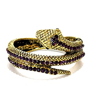 Daamak Jewellery Purple Stone Gold Polish Cuff Bangle