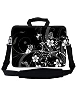 Meffort Inc 17 17.3 inch Neoprene Laptop Bag Sleeve with Extra Side Pocket Soft Carrying Handle & Removable Shoulder Strap for 16 to 17.3 Size Notebook Computer - Black White Flower Butterfly Design