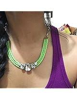 Green crystal bib necklace