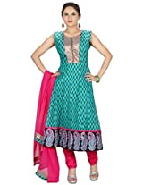 Sanskruti Creations Women's Anarkali Suit (SA-524_Turquoise_X-Large)