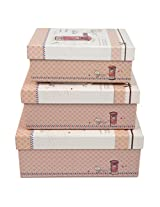 A Very Elegant & Durable Set of 3 Cardboard and Fabric Hard Boxes U & Me-Postoffice