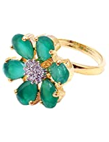 Affinity stylish beautiful Floral american diamond ad cz stones Green ring Gold Plated