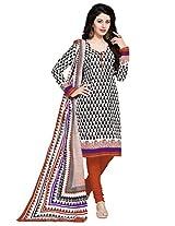 Salwar Studio Black & White & Red Cotton Dress Material with Dupatta SHIMAYAA-1201