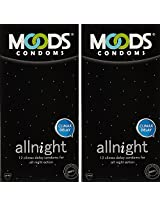 Moods All Night Long Condom - 12 Pieces (Pack of 2)