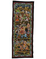 Ashoka Arts Silk Miniature Art Painting (33 cm x 95 cm)