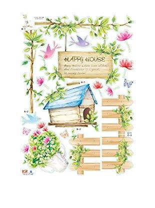Ambiance Live Wandtattoo Happy House mehrfarbig