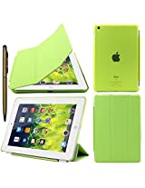 Elite Ultra Thin Smart Flip Foldable Flip Case cover for Apple iPad Mini 3 Tablet with Glittering Stylus (Sleep/wakeup) (Green)