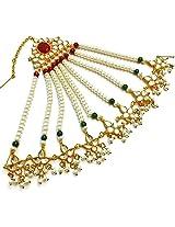 Divinique Jewelry COPPER Kundan Pearl Pasa / Jhoomer Maang Tikka For Women