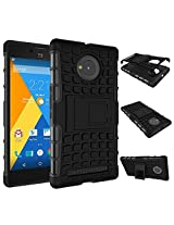 Eccelere dual armor kickstand hybrid case for for Micromax YU Yuphoria YU5010 - Black