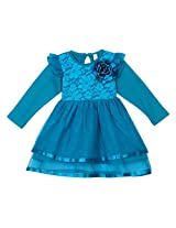 lil'posh Full Sleeve Girls Dress With Floral Net Yoke