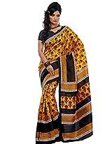 Riti Riwaz Bhagalpuri Saree With Unstitched Blouse (SS5634_Golden)
