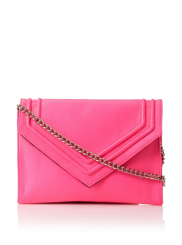 Possé Women's Lina Small Envelope Clutch with Cross-Body (neon pink)