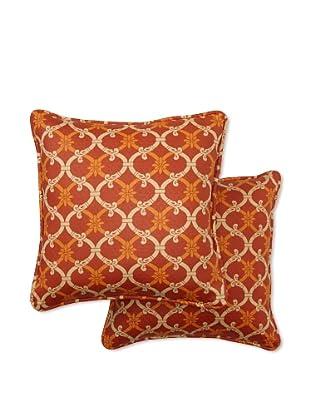 Set of 2 Heat Wave Square Decorative Throw Pillows (Mango)