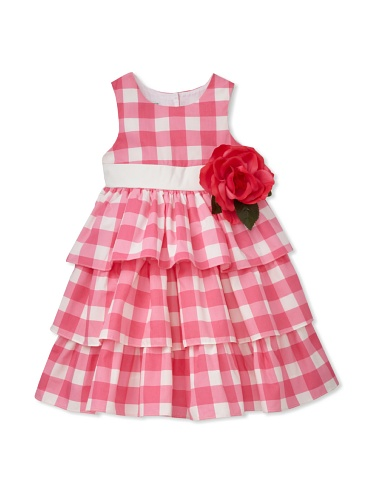 Pippa & Julie Girl's Tiered Gingham Dress with Flower (Pink)