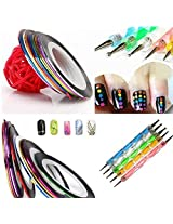 Lookatool 5 X 2 Way Marbleizing Dotting Pen Set For Nail Art Manicure Pedicure+10 Color Rolls Nail Art Decoration Striping Tape