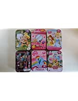 Set Of 6 Collectors Tin Puzzles: Barbie (50 Pieces); Disney Princess (50 Pieces); Disney Fairies (50 Pieces) Disney Palace Pets (50 Pieces); Monster High (50 Pieces); My Little Pony (50 Pieces)